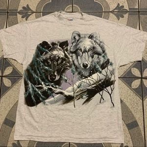 NWOT Vintage '93 Wolf Double-Sided Graphic Tee XL